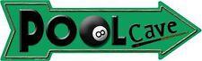 "Pool Cave Billiard Room Eight Ball Novelty Metal Arrow Sign 17"" x 5"" Wall Decor"