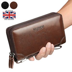 Mens Long Wallet  Leather Zip Large Purse Business Travel Clutch Bag Handbag