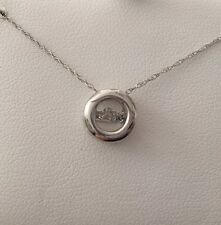 10K White Gold Floating Dancing Diamond Circle Pendant Necklace