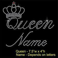 Personalised Queen & crown Rhinestone/Diamante Transfer Hotfix Iron on Motif