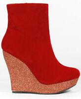 Red Velvet Glitter Round Toe High Heel Fashion Platform Wedge Ankle Bootie Boot
