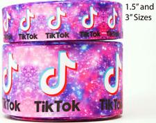 "Grosgrain Tik Tok Purple Printed 3"" Inch Printed Grosgrain Ribbon 1, 3,5 Yds"
