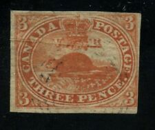 Canada 1852 Pence Beaver 3d orange red thin paper Pre Printing Crease #4d used