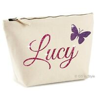 PERSONALISED MAKE UP BAG WITH YOUR NAME IN SHINY GLITTER MOTHER GIFT PRESENT SML