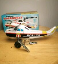 Vintage Toy Hero Japan Windup Emergency Police Helicopter Tin