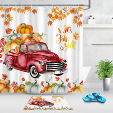 Thanksgiving Fall Harvest Pumpkin Red Truck Waterproof Fabric Shower Curtain Set