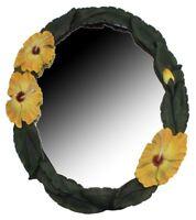 """Yellow Hibiscus Wall Mirror 18 """"H Resin Hawaiian Decor Bedroom Tropical Bathroom"""