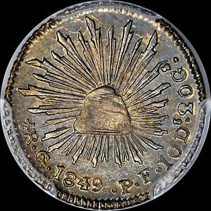 """1849 GO-PF 1/2R REALE MEXICO PCGS MS64 """"FINEST KNOWN"""" SPECTACULAR TONED GOLD"""