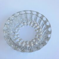 VTG Glass Ashtray HEAVY Clear Smoking Tray Plate 6W x 1.5T Antique Mid-Century