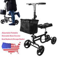New Foldable Steerable Knee Scooter Walker Turning Brake Basket Drive Cart Black