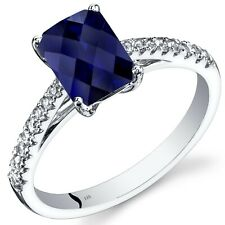 14K White Gold Created Sapphire Ring Radiant 2.00 Cts Size 7