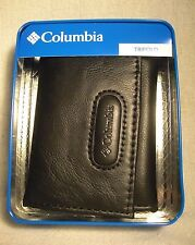 Columbia Black Coated Leather Manmade Interior Trifold Wallet w/6CC Slot NWT $30