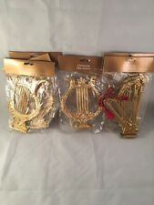 Vintage Assorted 8 Pieces Gold Harp Christmas Ornament Music Instrument Crafts