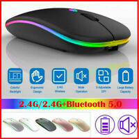 2.4GHz RGB Rechargeable Wireless Mouse Silent USB Mice For Computer PC Laptop US
