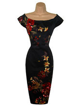 WAREHOUSE DRESS SIZE 10 EVENING COCKTAIL PARTY PENCIL WIGGLE  FLORAL US 6 EU 38