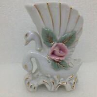 Vintage Geese Bud Vase Rose Flower Porcelain Gold Trim Miniature Bird Decor