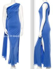 NEW $4100 VERSACE  BLUE ONE SHOULDER GOWN SCARF PERIWINKLE DRESS- US4/6, IT40