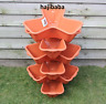 6 x Trio TERRACOTTA Stacking Planter Garden Strawberry Flower Plastic Plant Pot