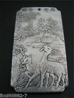 old Chinese tibet Silver deer ring bell Bullion thanka amulet Pendant