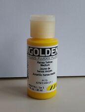 Golden Fluid Acrylics Artist Paint 1-Fl Oz/ 30 ml Bottle ~ Hansa Yellow Medium