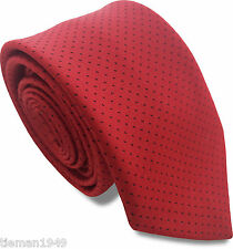 Skinny Tie Red with Black Dots Thin Vintage Retro Polka