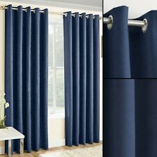 Navy Blue Thermal Ring Top Eyelet Pair Ready Made Curtains At Cheap Low Prices