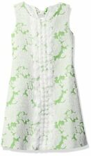 Bonnie Jean Sleeveless Jacquard Bow Back Floral Shift Party Dress Green White 3T