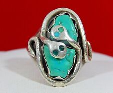 Double Snake Turquoise Ring S 11.75 Effie C Calavaza Zuni Large Sterling Silver