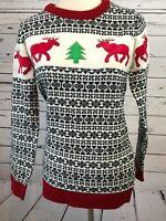 Ugly Christmas Sweater Large Nordic Womans Deer Trees Festified Fair Isle Wool