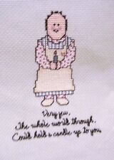 finished counted cross stitch Primitive Art new