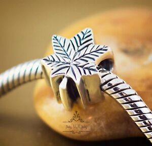Genuine SOLID 925 Sterling Silver charm bead maple leaf Canada fits bracelets