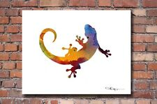 """Gecko Abstract Watercolor Painting 11"""" x 14"""" Art Print by Artist DJ Rogers"""