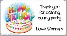 24 x Personalised Stickers Birthday Cake Candles Thank You Party Address Labels