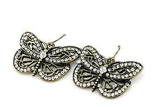 Estilo vintage cristal bronce pendientes colgantes mariposa
