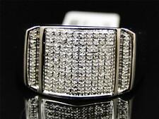 Mens White Gold Finish Diamond Engagement Wedding Fashion Band Pinky Ring .35 Ct