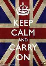 Keep Calm And Carry a Union Jack A5 En Hierro T Shirt transferencia