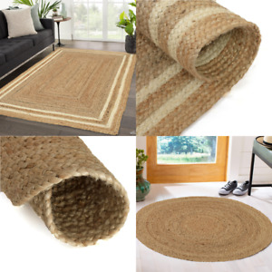 Area Rug Natural Jute Chindi Rag Rugs Handwoven Modern Braided Kitchen Carpet