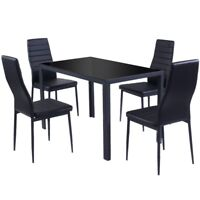5PCS Home Living Room Dining Glass Metal Table 4 Chairs Furniture Dinner Set US