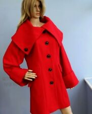 Marks & Spencer Red Wool Blend Mid Length Jacket Coat with Deep Collar Size 12