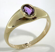 Classic Ring 10k Yellow Gold Oval Shape Bezel Set Amethyst .25 ctw