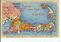 CG-024 MA, Cape Cod Auto Map Linen Postcard Curt Teich Massachusetts
