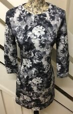 Zara Ladies Grey & White Floral  Long Sleeved Short Dress UK Small