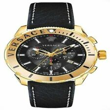 Versace Casual Chrono Stainless Black Dial Leather Strap Swiss Watch VERG003-18
