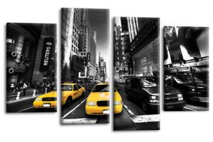 New York Taxi Wall Art Print Yellow Grey White City Scene Split Canvas 4 Panel