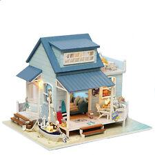 DIY Caribbean Sea Wooden Dollhouse Creative Gift Miniatures LED Furniture Kits