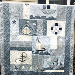 "Sail Boat Quilt Blanket  83"" X 68"""