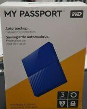 Western Digital My Passport 3TB Portable Hard Drive-Blue(wdbyft0030bbl-wesn)