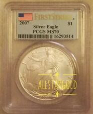 2007 $1 Silver American Eagle Pcgs  Ms 70 First Strike #16293514. pop 84