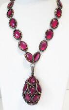 Trifari Cranberry Gripoix Poured Glass Renaissance Collection Drop Necklace 1964