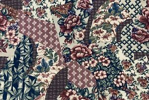 "Jena Hall 5th Ave. Designs Floral Barkcloth Like Fabric 1991 26""x18' 55""x10'"